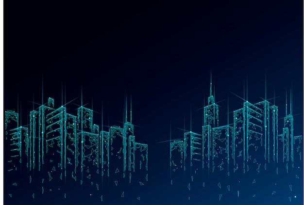 Siatka druciana 3d low poly smart city. koncepcja biznesowa inteligentnego systemu automatyki budynkowej. wysokie wieżowce granicy wzór tła. architektura pejzażu miejskiego technologii miastowa ilustracja