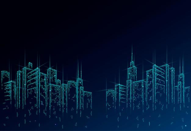 Siatka druciana 3d low poly smart city