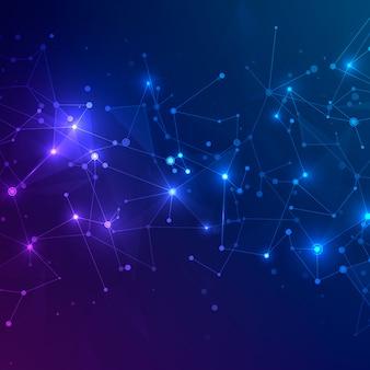 Siatka technologiczna o wielokątnych kształtach na ciemnoniebieskim i fioletowym tle. koncepcja technologii cyfrowej. chaotyczna struktura splotu sieci. streszczenie futurystyczna tekstura. ilustracja