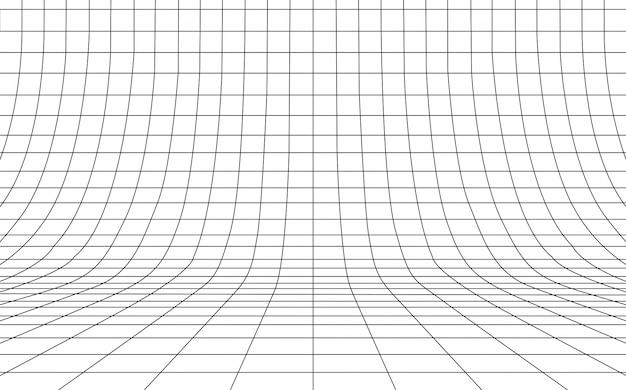 Siatki wyginający się tło pusty w perspektywie, ilustracja.