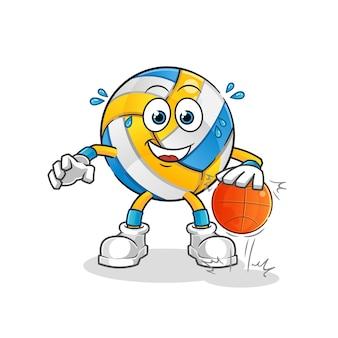 Siatkówka drybluje postać koszykówki. kreskówka maskotka