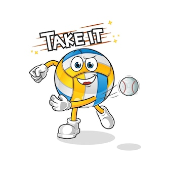 Siatkówka rzuca baseball postać z kreskówki