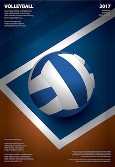 Siatkówka turnieju szablonu projekta wektoru plakatowa ilustracja