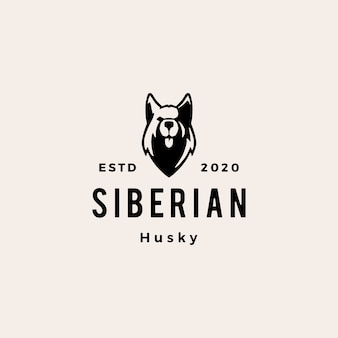 Siberian husky pies hipster vintage logo ikona ilustracja
