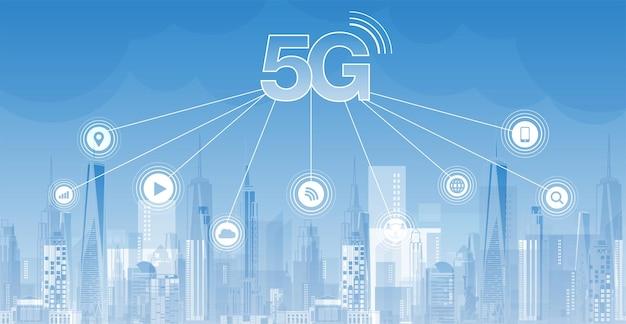 Sieć 5g bezprzewodowy internet połączenie wi-fi inteligentna koncepcja sieci komunikacyjnej miasta wysoka prędkość
