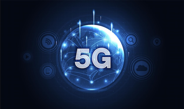 Sieć 5g bezprzewodowy internet połączenie wi-fi koncepcja sieci komunikacyjnej szybkie łącze szerokopasmowe