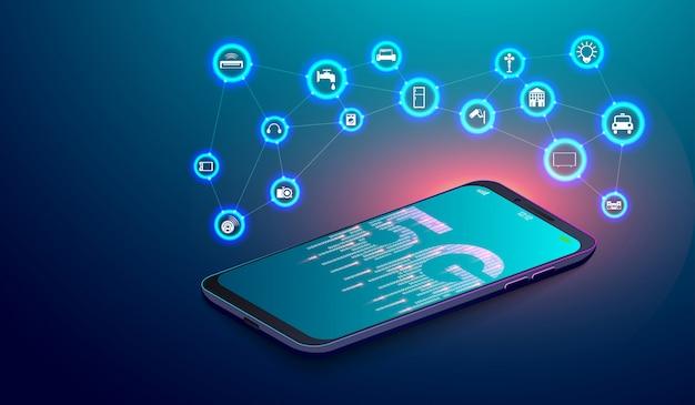 Sieć 5g na smartfonie i internetowym internetowym sprzęcie iot