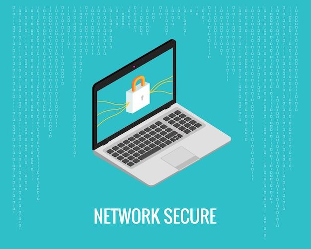 Sieć bezpieczna ilustracja z laptopem i blokadą