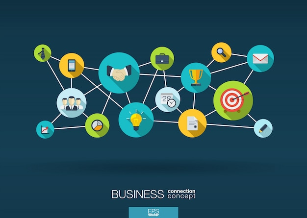 Sieć biznesowa. tło wzrostu z integracją ikon. połączone symbole strategii, usług, analiz, badań, marketingu cyfrowego, koncepcji komunikacji. interaktywna ilustracja