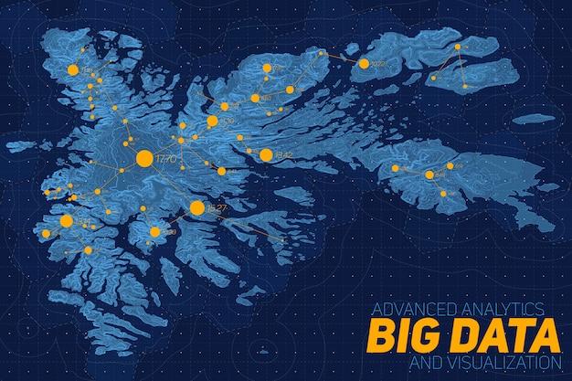 Sieć dużych zbiorów danych na mapie. kompleksowa wizualizacja danych topograficznych. dane abstrakcyjne na wykresie wysokości. kolorowy obraz danych geograficznych.