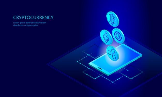 Sieć komórkowa smartfonu cyfrowego kryptowaluty ethereum bitcoin ripple