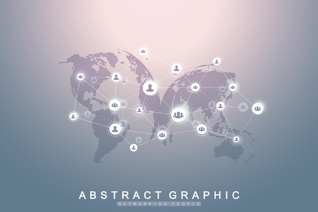 Sieć mediów społecznościowych i koncepcja marketingowa na tle mapy świata. globalna koncepcja biznesowa i technologia internetowa, sieci analityczne. ilustracja