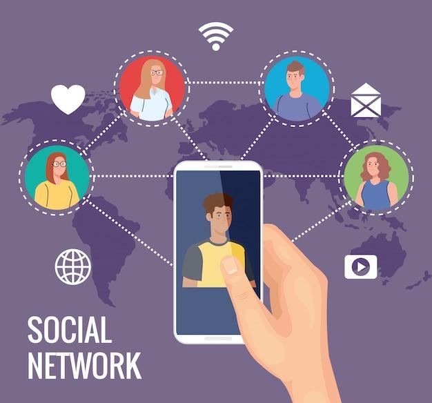 Sieć mediów społecznościowych, ludzie podłączeni do cyfrowych, interaktywnych, komunikacyjnych i globalnych koncepcji
