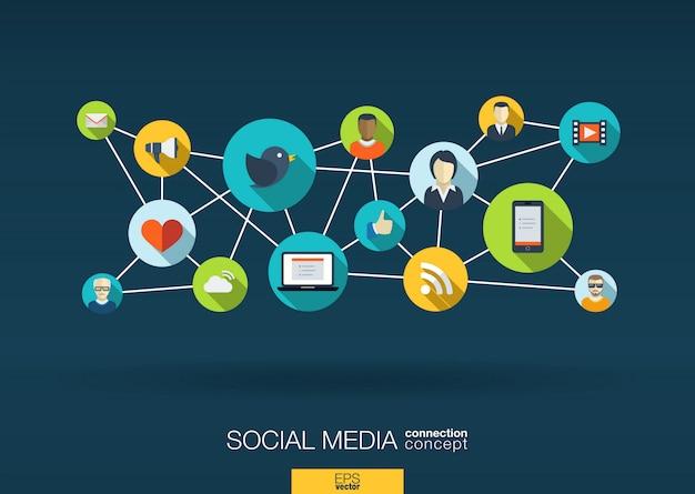 Sieć mediów społecznościowych. tło wzrostu z liniami, okręgami i ikonami integracji. połączone symbole dla cyfrowych, interaktywnych, rynkowych, łączących, komunikujących się, globalnych koncepcji. ilustracja