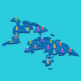 Sieć ogólnoświatowa. sieć na całym świecie. mapa w widoku izometrycznym. streszczenie ludzie. ilustracja wektorowa.