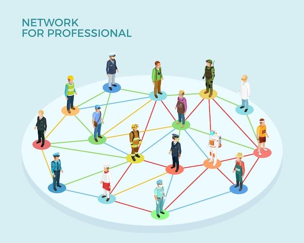 Sieć profesjonalny izometryczny koncepcja