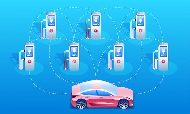 Sieć samochodów elektrycznych i stacji ładowania.
