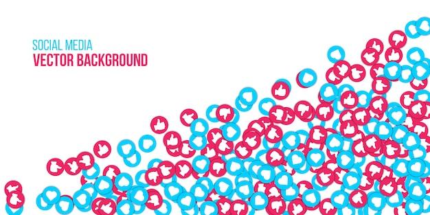 Sieć społeczna jak, serce iconsbanner tło.