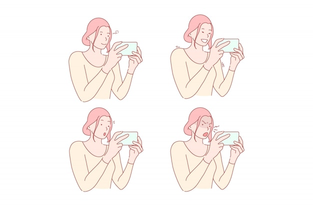 Sieć społeczna lub smm ustawiająca ilustracja