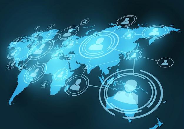 Sieć społeczna. ludzie na mapie świata połączenie według linii.
