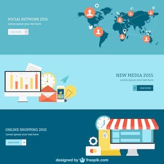 Sieć społeczna, media i internetowe banery na zakupy