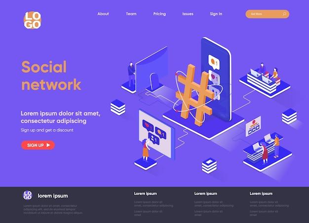 Sieć społecznościowa 3d izometryczna ilustracja strony docelowej z postaciami ludzi