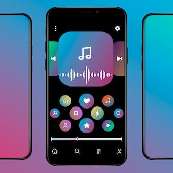 Sieć społecznościowa inspirowana apple music. interfejs aplikacji mobilnej. subskrypcja odtwarzacza muzyki. profil, album, piosenka, lista odtwarzania. ekran muzyczny. ilustracja.