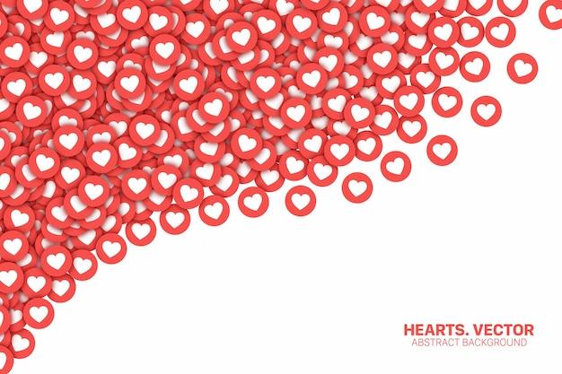 Sieć społecznościowa instagram spadające serca czerwone płaskie ikony 3d