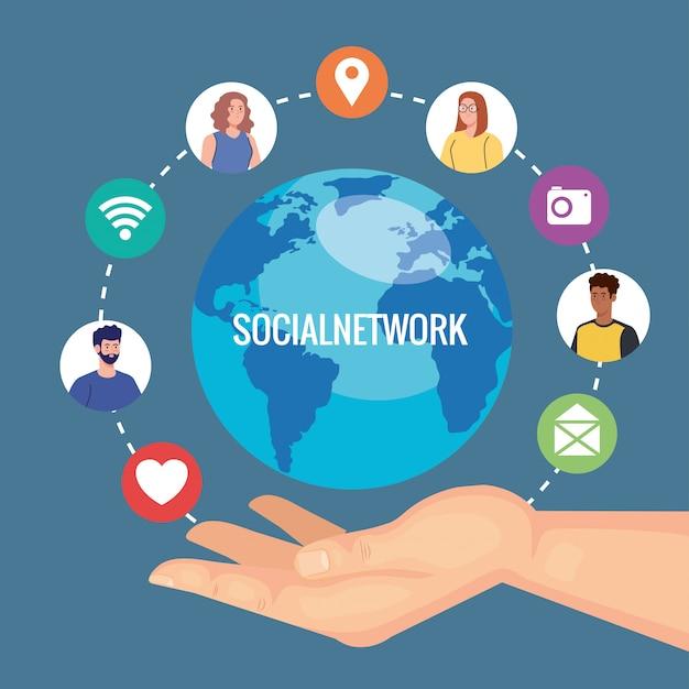 Sieć społecznościowa, młodzi ludzie połączeni cyfrowo, komunikują się i globalnie