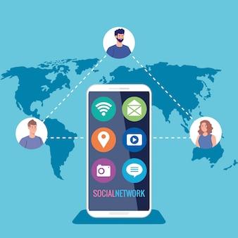 Sieć społecznościowa, smartfon i ludzie podłączeni do cyfrowej, interaktywnej, komunikacji i globalnej koncepcji