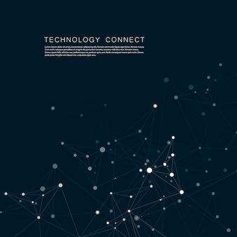Sieć technologiczna łączy się z punktami i liniami. nauka kreatywne tło