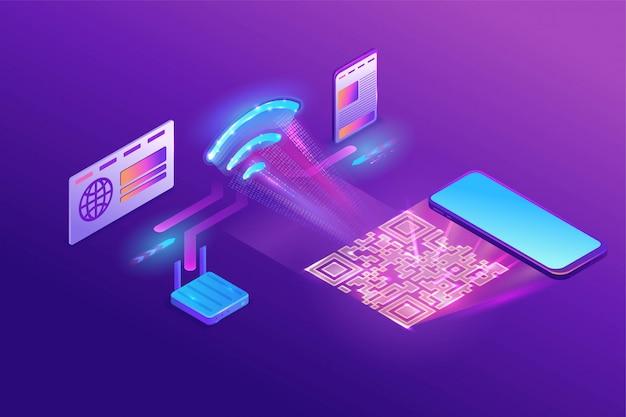 Sieć wi fi dołącza za pomocą kodu qr, połączenie technologii bezprzewodowej z komputerem, smartfonem i laptopem, izometryczna ilustracja wektorowa infografiki 3s, koncepcja fioletowego gradientu