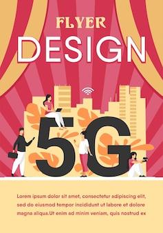 Sieci 5g i koncepcja telekomunikacji. osoby korzystające z urządzeń cyfrowych. szablon ulotki