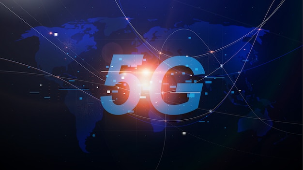 Sieci nowej generacji 5g, szybki internet mobilny. mapa świata streszczenie z sieci i telekomunikacji na ziemi. ilustracji wektorowych