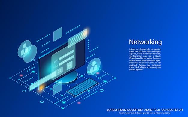 Sieci płaskie 3d izometryczne ilustracja koncepcja wektorowa