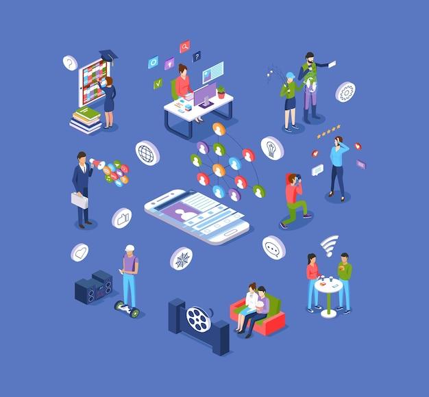 Sieci społecznościowe i nowoczesny zestaw izometryczny rozrywki cyfrowej. ludzie korzystają z elektronicznej aplikacji internetowej wirtualnej rzeczywistości, oglądając filmy, rozmawiając, studiując online, marketingową kreskówkę wektorową
