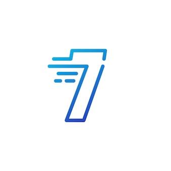 Siedem 7 cyfr kreska szybko szybki znak cyfrowy zarys linii logo wektor ikona ilustracja
