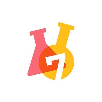 Siedem 7 numer laboratorium szkło laboratoryjne zlewki logo wektor ikona ilustracja