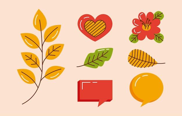 Siedem ikon zestawu jesiennego