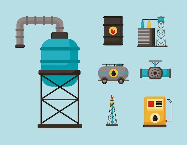 Siedem ikon zestawu przemysłu naftowego