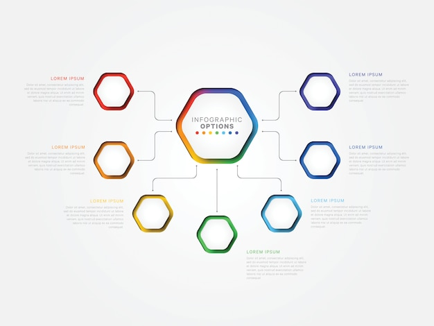 Siedem kroków 3d infographic szablon z sześciokątnymi elementami. szablon procesu biznesowego z opcjami