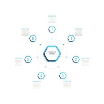 Siedem kroków okrągły szablon infografiki z jasnoniebieskimi sześciokątnymi elementami na białym tle