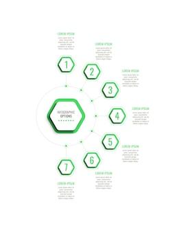 Siedem kroków pionowy szablon infografiki z zielonymi sześciokątnymi elementami na białym tle