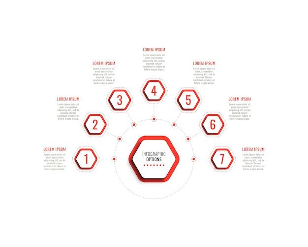 Siedem kroków poziomy szablon infografiki z czerwonymi sześciokątnymi elementami na białym tle