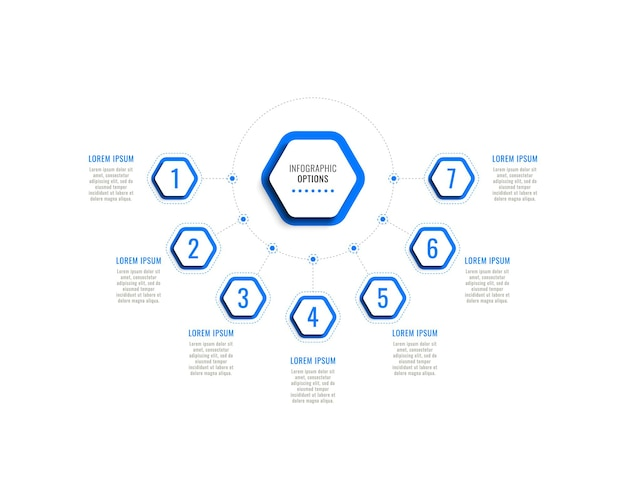 Siedem kroków poziomy szablon infografiki z niebieskimi sześciokątnymi elementami na białym tle