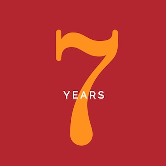 Siedem lat symbol siedem urodziny godło rocznica znak numer logo koncepcja vintage plakat