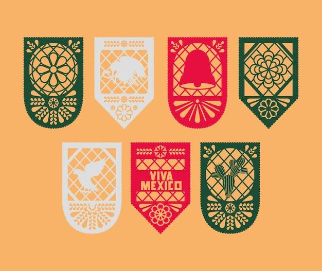 Siedem Meksykańskich Girland Premium Wektorów