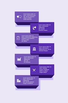 Siedem opcji szablon slajdu planu. koncepcja biznesowa z opcjami. infografiki.