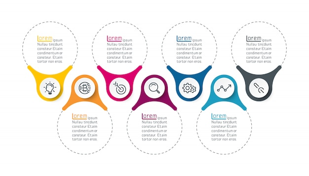 Siedem pionowy pasek infografiki.