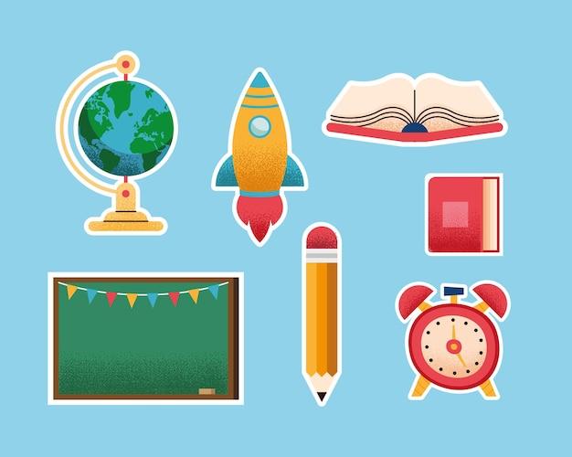 Siedem przyborów szkolnych zestaw ikon